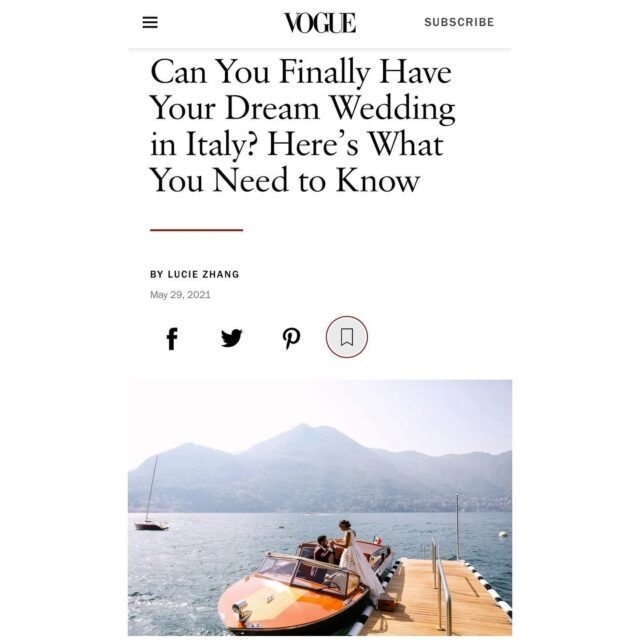 Check out @vogueweddings today for our advise on having your wedding in Italy this summer! As our prime minister says weddings are allowed from 15th of June with no guest limits. 🎉💍 #destinationwedding #voguewedding #lakecomo #lakecomowedding #lakecomoweddingplanner #lakecomoweddings #destinationweddingplanner #destinationwedding2021 #weddingdesigner #event #eventplanner #weddinginitaly #italyweddingplanner #vogue